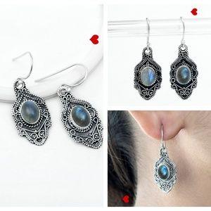 Labradorite Drop Earrings Antique Jewelry